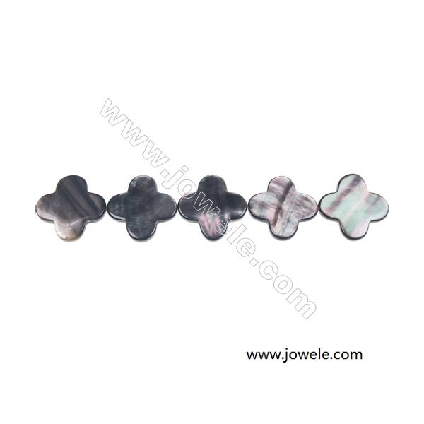 Gray mother-of-pearl shell four-leaf beaded strand, 18mm, Hole 0.7mm, 22 beads/strand 15~16""