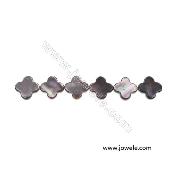 """Gray mother-of-pearl shell four-leaf strand beads, 13 mm, Hole 0.7 mm, 31 beads/strand 15~16"""""""