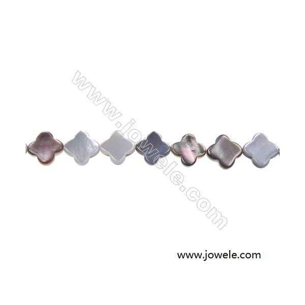 """Gray mother-of-pearl four-leaf flower strand beads, 10mm, hole 0.7mm, 41 beads/strand, 15~16"""""""