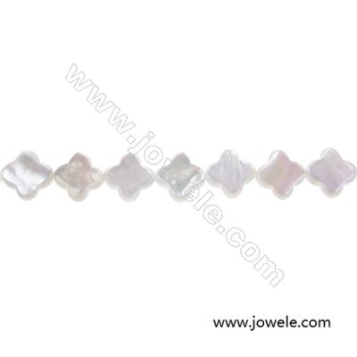 White mother-of-pearl shell four-leaf flower beads strand, Diameter 10 mm, Hole 0.7mm, 41 beads /strand  15~16""