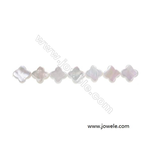 """White mother-of-pearl shell four-leaf flower beads strand, Diameter 10 mm, Hole 0.7mm, 41 beads /strand  15~16"""""""