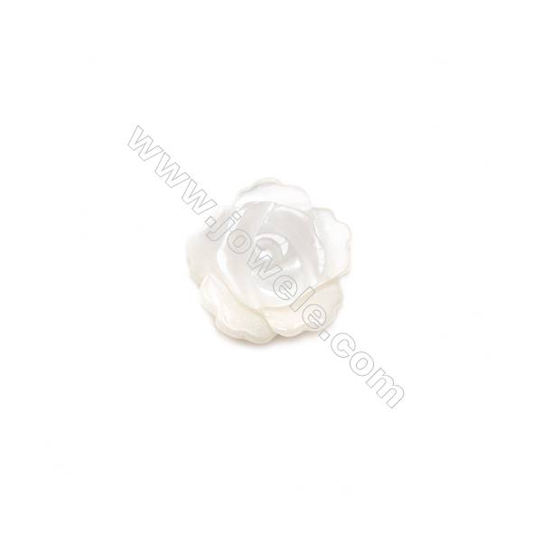 White mother-of-pearl rose shell, 8mm, hole 1mm, 40pcs/pack