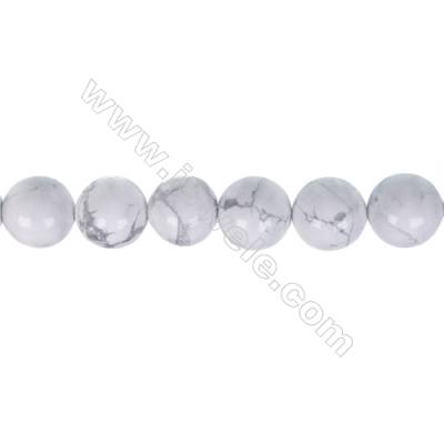 White howlite round strand beads, Diameter 10mm, Hole 1.2 mm, 38 beads/strand 15 ~ 16 ''