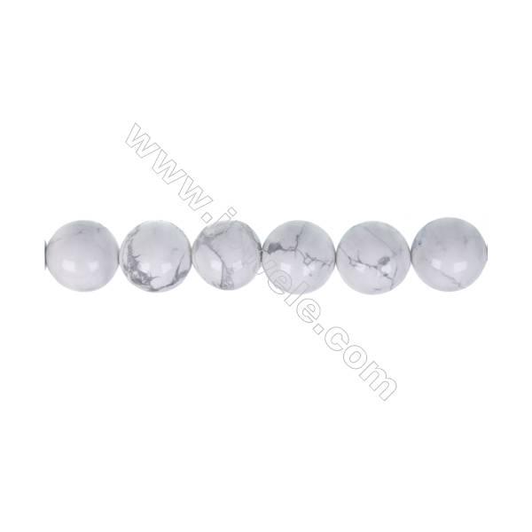 White howlite round strand beads, Diameter 10mm, Hole 1.2 mm, 38 beads/strand 15 ~ 16 ''