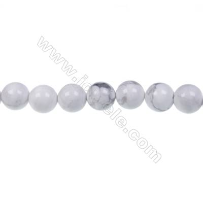 White howlite round strand beads, Diameter 8mm, Hole 1.2 mm, 47 beads/strand 15 ~ 16""