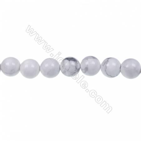 """White howlite round strand beads, Diameter 8mm, Hole 1.2 mm, 47 beads/strand 15 ~ 16"""""""