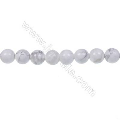 White Howlite Round Strand Beads, Diameter 6mm, Hole 1.2mm, 62 beads/strand 15 ~ 16''
