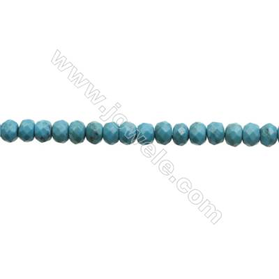 Natural Turquoise Beads Strand  Faceted Abacus  5x7.5mm  Hole 0.6mm  about 75 beads/strand  15-16""