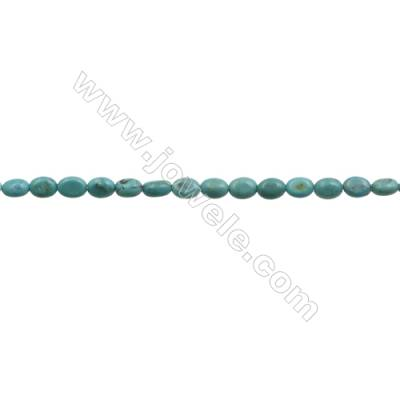 Natural Turquoise Beads Strand  Oval  5x7mm  Hole 0.6mm  about 78 beads/strand  15-16""