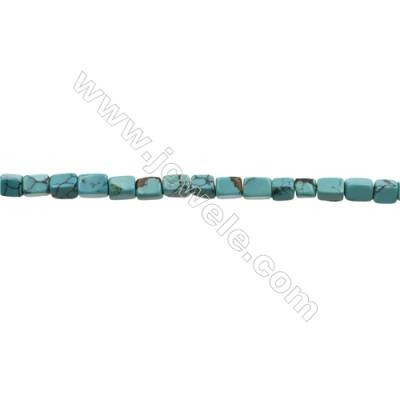 Natural Turquoise Beads Strand  Cuboid  5x5x6mm  Hole 0.6mm  about 63 beads/strand  15-16""