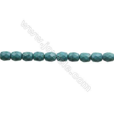 Natural Turquoise Beads Strand  Faceted Cloumn  8x10mm  Hole 0.8mm  about 40 beads/strand  15-16""