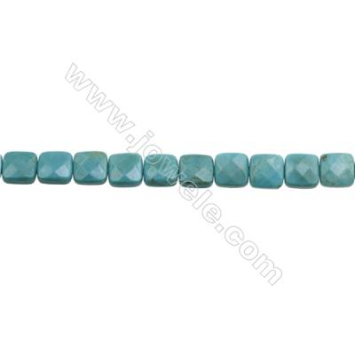 Natural Turquoise Beads Strand  Faceted Square  10x10mm  Hole 1mm  about 40 beads/strand  15-16""