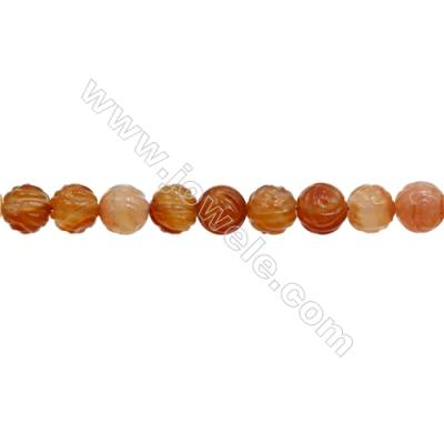 Natural Carnelian Beads Strand  Rose  Diameter 14mm  hole 1.5mm  about 27 beads/strand 15~16""