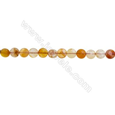 Natural Carnelian Beads Strand  Faceted Rondelle  Diameter 10mm  hole 1mm  about 38 beads/strand 15~16""