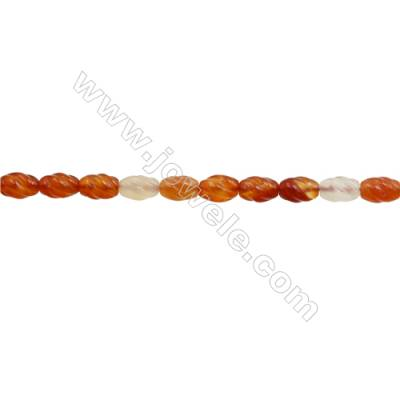 Natural Carnelian Beads Strand  S-shaped   Size 8x12mm  hole 1mm  about 32 beads/strand 15~16""