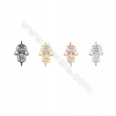 13x16mm  Brass Connectors, Palm, (Gold, White gold, Black, Rose Gold) Plated, CZ Micropave, hole 1.5mm, 30pcs/pack