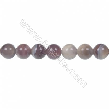 Round Botswana agate beaded strand  diameter 8 mm  hole diameter 1.2 mm  51 beads / strand 15 ~ 16 ''
