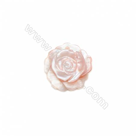 Pink mother-of-pearl rose flower shape, 12mm, Hole 0.9mm, 20pcs/pack