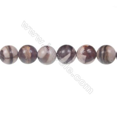 Brown zebra jasper round beaded strand, Diameter 12 mm, Hole 1.5 mm, 32 beads/strand 15 ~ 16''