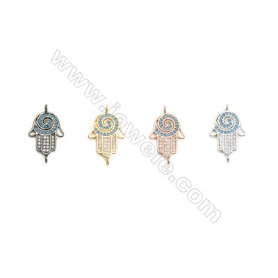 13x16mm  Brass Connectors, Palm, (Gold, White gold, Black, Rose Gold) Plated, CZ Micropave, hole 1.5mm, 20pcs/pack