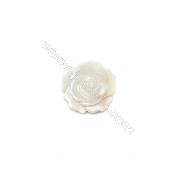 Natural shell rose design white mother-of-pearl, 12mm, hole 1mm, 30pcs/pack