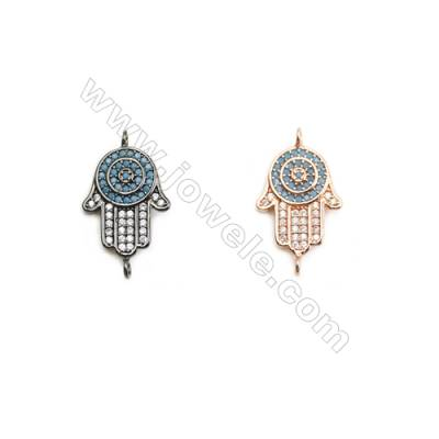 13x16mm  Brass Connectors, Palm, (Black, Rose Gold) Plated, CZ Micropave, hole 1.5mm, 20pcs/pack
