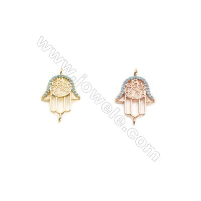 14x15mm  Brass Connectors, Palm, (Gold, Rose Gold) Plated, CZ Micropave, hole 1.5mm, 20pcs/pack