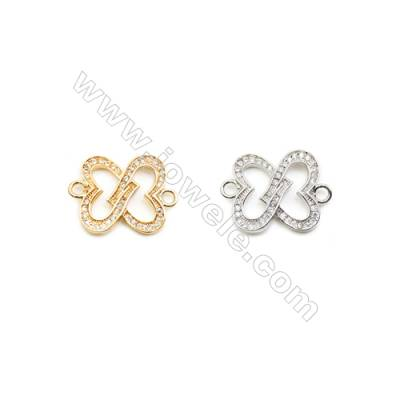 16x18mm  Brass Connectors, Heart, (Gold, White gold) Plated, CZ Micropave, hole 2mm, 20pcs/pack