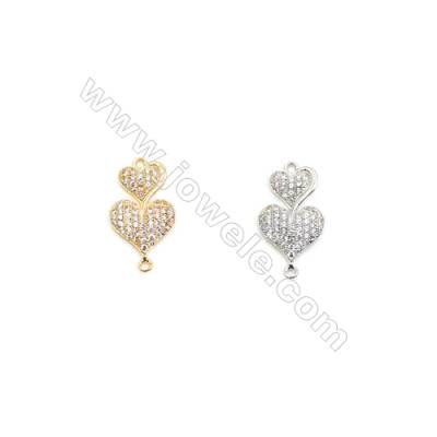 12x18mm  Brass Connectors, Heart to Heart, (Gold, White gold) Plated, CZ Micropave, hole 1mm, 20pcs/pack