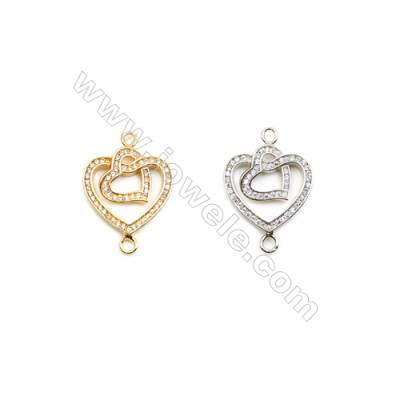 19x19mm  Brass Connectors, Heart in Heart, (Gold, White gold) Plated, CZ Micropave, hole 2mm, 20pcs/pack
