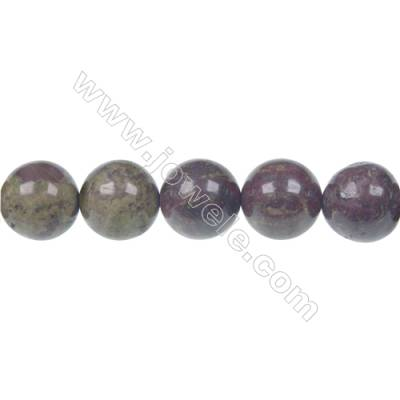 Dragon blood jasper round strand beads, Diameter 12 mm, Hole 1.5 mm, 33 beads/strand 15 ~ 16''