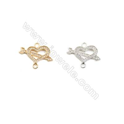 11x21mm  Brass Connectors  Heart  (Gold  Rhodium) Plated  CZ Micropave  hole 2mm  20pcs/pack