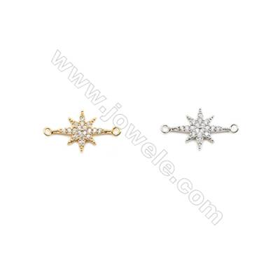 14x18mm  Brass Connectors, Star, (Gold, White gold) Plated, CZ Micropave, hole 1.5mm, 30pcs/pack