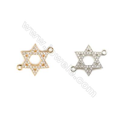 18x20mm  Brass Connectors, Star, (Gold, White gold) Plated, CZ Micropave, hole 1.5mm, 20pcs/pack