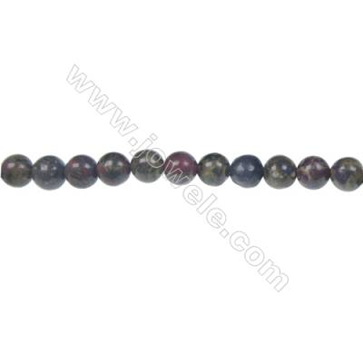 Dragon blood jasper round strand beads, Diameter 6 mm, Hole 1 mm, 67 beads/strand 15 ~ 16''