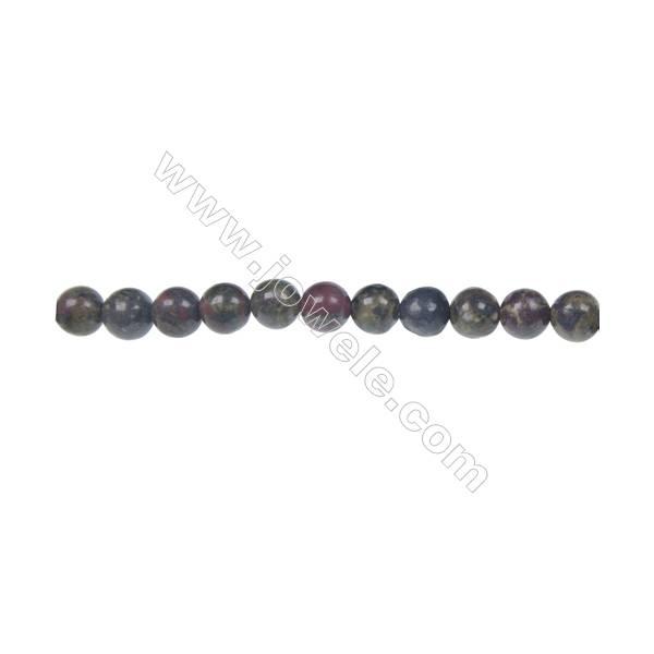 Dragon blood jasper round strand beads, Diameter 6 mm, Hole 1 mm, 67 beads/strand 15 ~ 16''
