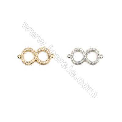 11x19m  Brass Connectors, Figure 8, (Gold, White gold) Plated, CZ Micropave, hole 1mm, 30pcs/pack
