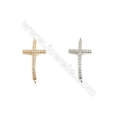 16x27mm  Brass Connectors, Cross, (Gold, White gold) Plated, CZ Micropave, hole 1.5mm, 30pcs/pack