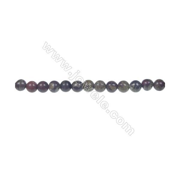 Dragon blood jasper round strand beads, Diameter 4 mm, Hole 0.8 mm, 99 beads/strand 15 ~ 16''
