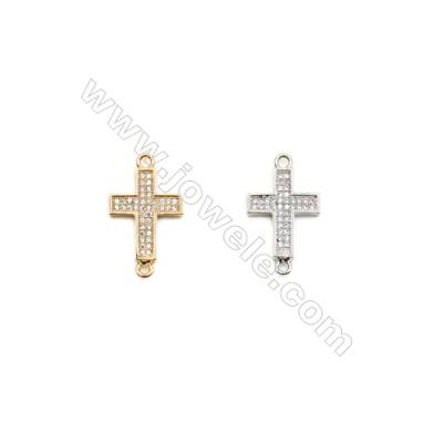 13x16mm  Brass Connectors, Cross, (Gold, White gold) Plated, CZ Micropave, hole 1.5mm, 20pcs/pack