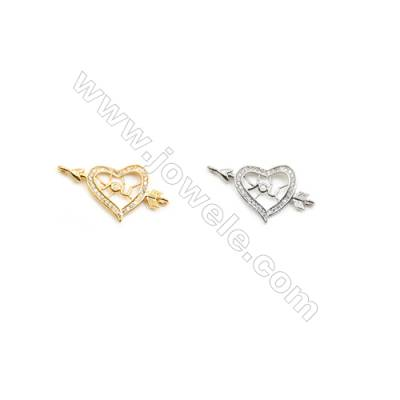 17x27mm  Brass Connectors, Arrow&Heard, (Gold, White gold) Plated, CZ Micropave, hole 2mm, 20pcs/pack