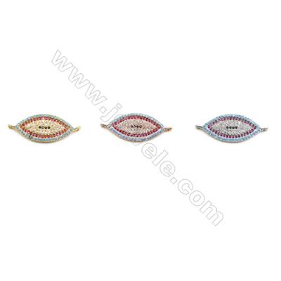 11x23mm  Brass Connectors, Horse Eye, (Gold, White gold, Rose Gold) Plated, CZ Micropave, hole 1.5mm, 10pcs/pack