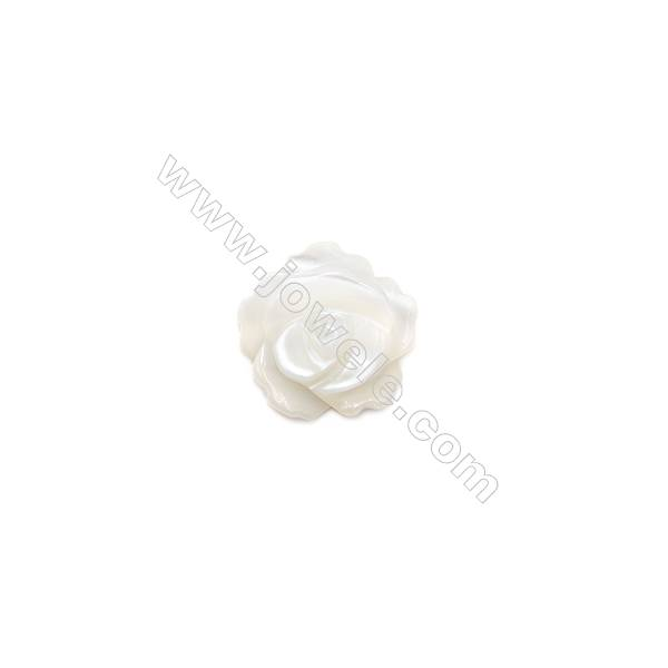 Natural shell rose pattern white mother-of-pearl, 10mm, hole 1mm, 40pcs/pack