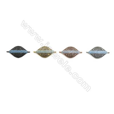 14x23mm  Brass Connectors, Horse Eye, (Gold, White gold, Black, Rose Gold) Plated, CZ Micropave, hole 1mm, 10pcs/pack