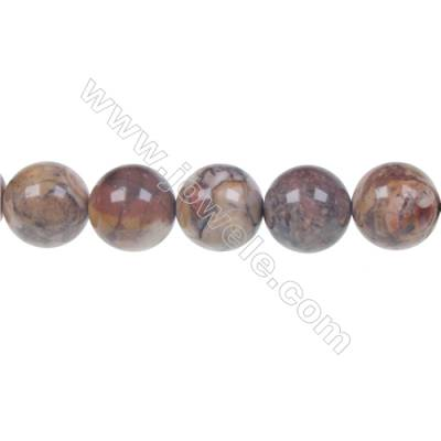 Natural Bird's eye Rhyolite Jasper Round Strand Beads, Diameter 12 mm, Hole 1.5 mm, 33 beads/strand, 15 ~ 16''