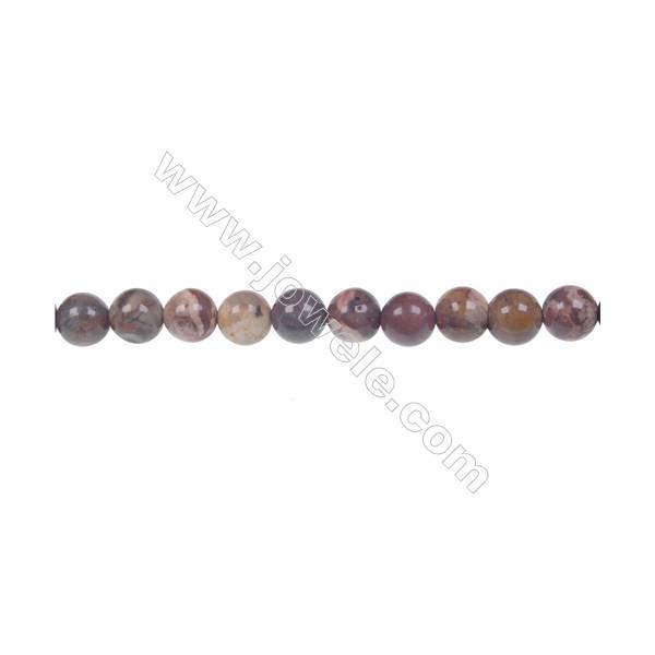 Bird's eye Rhyolite Jasper Round Strand Beads, Diameter 6 mm, Hole 1 mm, 63 beads/strand 15 ~ 16''