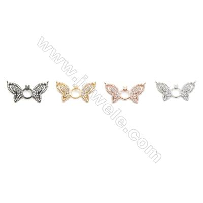 15x30mm  Brass Connectors, Butterfly, (Gold, White gold, Black, Rose Gold) Plated, CZ Micropave, hole 0.6mm, 10pcs/pack