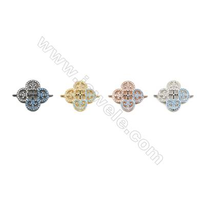 20x20mm  Brass Connectors, Flower, (Gold, White fold, Black, Rose Gold) Plated, CZ Micropave, hole 1mm, 10pcs/pack