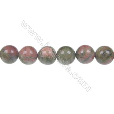Round Unakite  strand beads in diameter 12 mm  hole 1.2 mm  33 beads /strand 15 ~ 16 ''