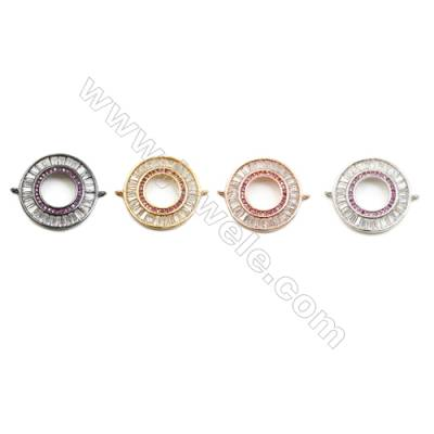 21mm  Brass Connectors, Ring-shape, (Gold, White gold, Black, Rose Gold) Plated, CZ Micropave, hole 1.5mm, 10pcs/pack